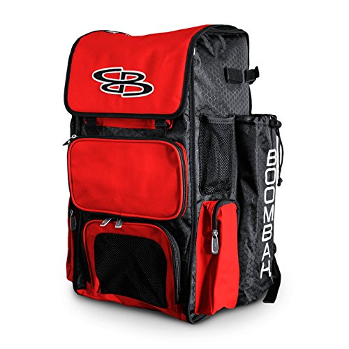 Boombah Superpack Bat Pack -Backpack Version (no Wheels) - Holds up to 4 Bats - Black/Red - for Baseball or ()