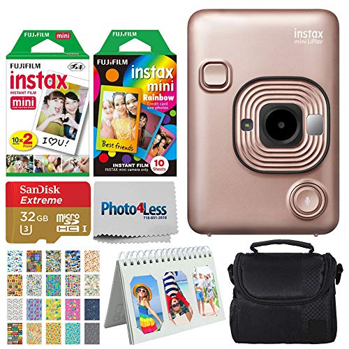 Fujifilm Instax Mini LiPlay Hybrid Instant Camera (Blush Gold) + Instant Film (20 Shots) + Rainbow Film (10 Shots) + 32GB microSDHC + Case + Scrapbooking Album + 20 Sticker Frames Travel Package