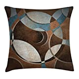 Ambesonne Abstract Throw Pillow Cushion Cover, Grunge Vintage Style Contemporary Circular Round Geometric Figures Artwork, Decorative Square Accent Pillow Case, 20 X 20 Inches, Umber Slate Blue