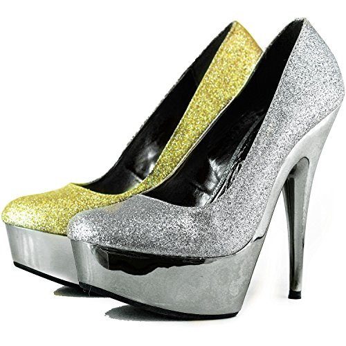 Womens Hugo-13E Glitter Stilettos Round Toe Platform Pumps Evening Dress Fashion Shoes Gold D4vT5boohl