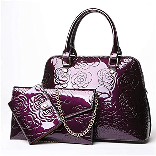 Floral Printing Patent Leather 3 Set Ladies Composite Bags Shell Women Handbags +Chain Women Messenger Bags+Purse,Purple,34X14X24Cm ()