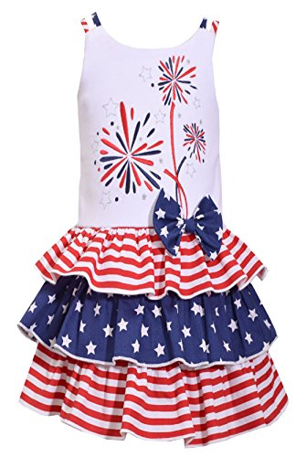 (Bonnie Jean Big Girls Red White Blue Americana 4th July Dress (5, Fireworks))