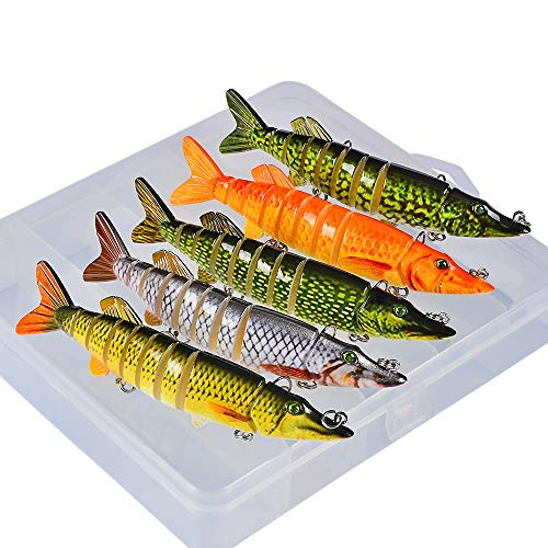 Sunlure Fishing Lures Bass Swimbait Lure Crankbaits Artificial Bait Multi Jointed Lifelike Muskie Shape Hard Baits Fish Tackle Kits with Box 5 pcs/Set