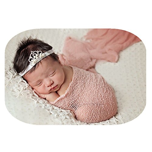 Wrap Snow - Newborn Baby Photography Shoot Props Outfits Baby Scarf Luxury Stretch Wrap Yarn Cloth Blanket Photo Props (Snow Bud Color)