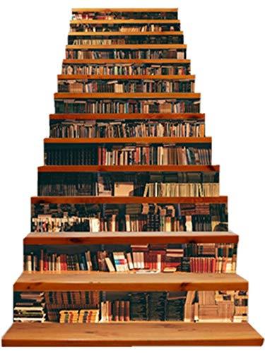 FLFK 13Pcs 3D Bookcase Stair Riser Sticker Simulation Bookshelf Wall Mural Wallpaper Removable Decals Home Decor