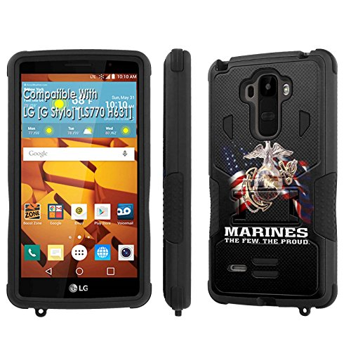LG [G Stylo] Tough Case [SlickCandy] [Black/Black] Hybrid Combat [Kick Stand] [Shock Proof] Phone Case - [Marines The Few The Proud] for LG [G Stylo] [LS770 H631] -  SlickCandy for LG [G Stylo], P-LGLS770-1E1-BKBK-VRI-P012C