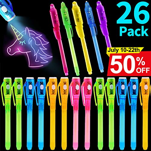 26 Pack Invisible Ink Secret Spy Pen with UV Light 2019 Upgraded UV Pen Secret Message Magic Markers for Drawing Fun Activity for Kids Ideas Gifts and Stock Stuffers