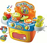 toy oven knobs - Compact Toy Kitchen Set - Stove Top and Oven with Lights and Sounds - Play Food - Toy Pots - Play Kitchen Utensils - A Quality Small Toddler Toy Kitchen Playset