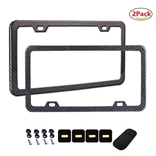 Carbon Fiber License Plate Frame (2PCS License Plate Frames Carbon Fiber Metal & Screw Kits Fine Slim Standard Size For US Car)