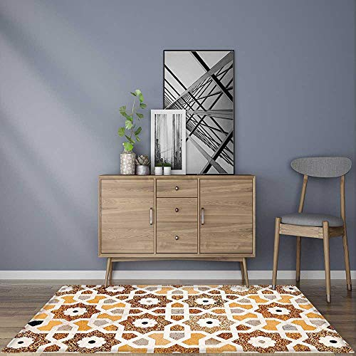 Rug for Home, Office Detail of Inlay and Geometric Carvings Indian Taj Mahal Tomb Architecture Design Cream Rug for Picnics or Beaches ()
