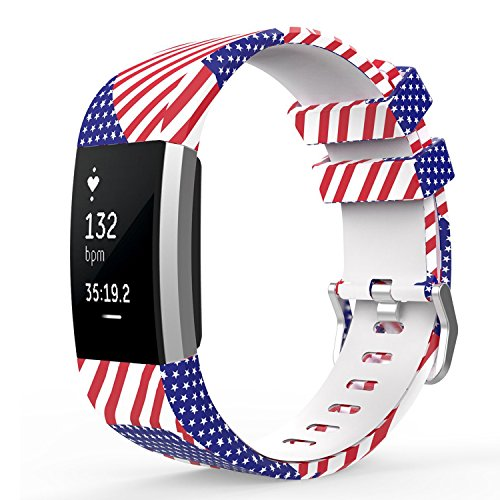 Spessn Fitbit Charge 2 Replacement Band, Universal Size Unisex Pattern Soft Silicone Adjustable Wrist Sport Strap for 2016 Fitbit Charge 2 HR Heart Rate + Fitness Wristband
