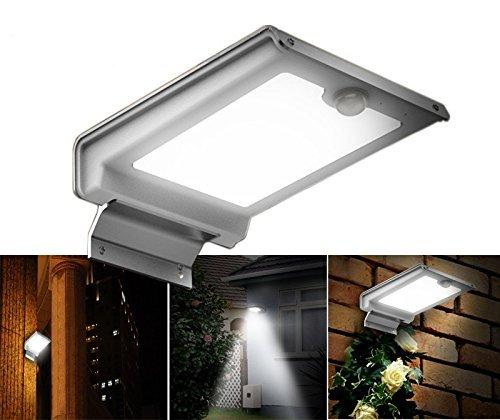 Contemporary Outdoor Garage Lights: IRSE Solar Light 46 LED Security Motion Sensor Lights Wall