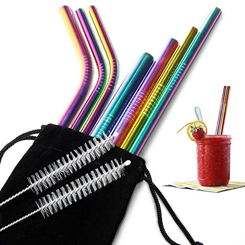 - [7 PCS] Multiple-size Colorful Metallic Reusable Stainless Steel Straws Combinations, Attom Tech Home Metal Straw Sets with Cleaning Brushes, 4 Straight 4 Bent For Tumblers Beverage Drinks Cocktail