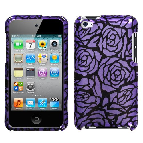 Hard Plastic Snap on Cover Fits Apple iPod Touch 4 (4th Generation) 2D Silver Splash Rose Purple/Black ()