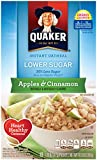 Quaker Instant Oatmeal Apple Cinnamon, Lower Sugar, 10 Count Box