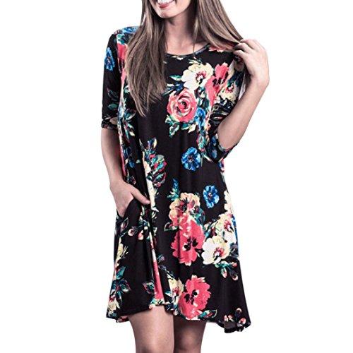 Damen Kleid Longra Frauen Beiläufiges BlumendruckKleid langes ...