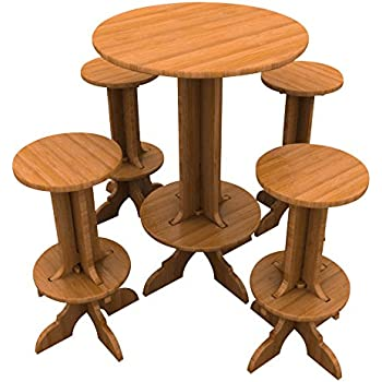 Bamboo Bar Set (1 High Top Table and 4 Stools), Palladian Style Furniture