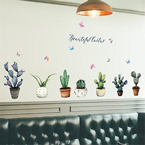 Transer DIY Cactus Removable Wall Decal Sticker Bedroom Decoration (Multicolor)