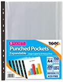 Pack of 25 A4 Large Expandable Plastic Poly Punch Pockets Wallet Sleeves Clear (Holds Up to 200 Sheets Each)