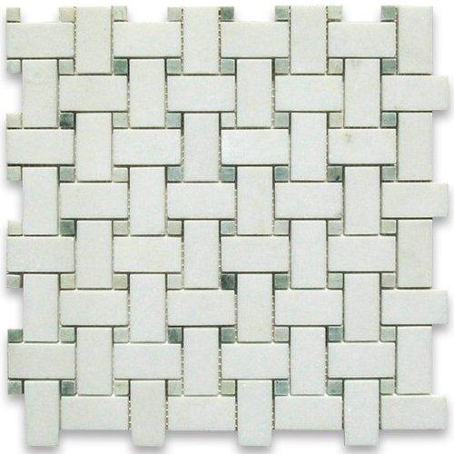 Thassos White Greek Marble Basketweave Mosaic Tile Green Dots 1 x 2 Honed ()