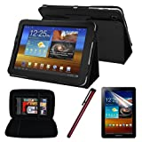 Premium Skque Black Leather Case + Clear Screen Protector + Black Hard EVA Case Cover + Red Stylus Pen for Samsung Galaxy Tab 7.7 P6800