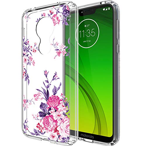 Moto G7 Optimo Maxx case,Moto G7 Power case,Moto Supra case,PUSHIMEI Clear TPU + Hard PC Back with Floral Flower Pattern Protective Phone Case Cover for Motorola Moto G7 Power(Peony Flower)