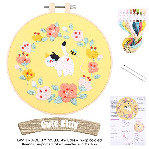 Embroidery Kit Beginners-Cross Stitch Kit Animal Pattern, Cat Embroidery Kit for Adults, Starter, 6 Inch