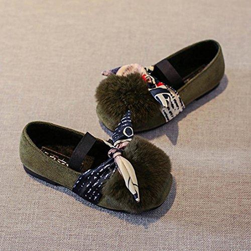 Omiky® Kleinkind Kinder MädchenFluffy Kunstpelz Prinzessin SingleShoes Kinder Baby Sneaker Grün