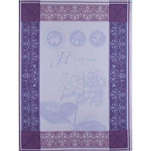 Garnier Thiebaut, Hortensia Bleu (Hydragenia) Woven French Kitchen / Tea Towel, 100% two-ply twisted cotton, Made in France