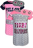 Sweet & Sassy Girls Short Sleeve Nightgown Pajama With Eye Mask (2 Pack) Pillow Fight, Size 8'