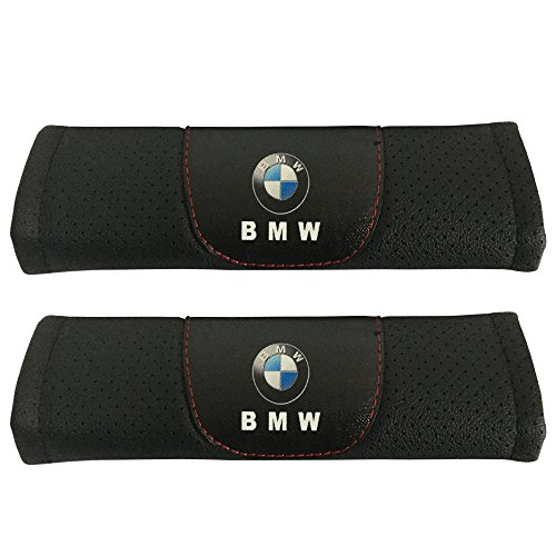 Jimat 2pcs BMW Logo Black Leather Car Seat Safety Belt Strap Covers Shoulder Pad Accessories Fit For BMW 2-series BMW 3-series BMW 3-series Wagon BMW 4-series BMW 5-series BMW 6-series BMW 7-series