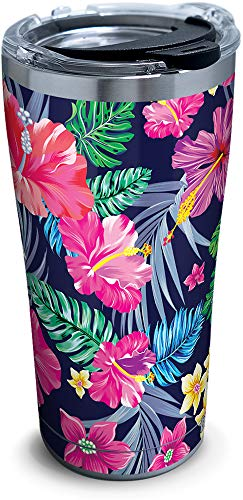 Tervis 1302017 Colorful Tropical Flowers Stainless Steel Insulated Tumbler with Lid, 20 oz, - Flowers Tropical Colorful