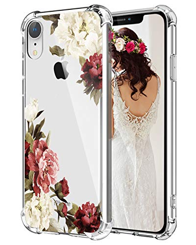 Hepix Flowers iPhone Xr Cases for Women Floral XR Phone Case, White Purple Flowers Clear Xr Phone Cover with Four Bumpers, Protective Slim TPU Frame Anti-Scratch for iPhone XR 6.1