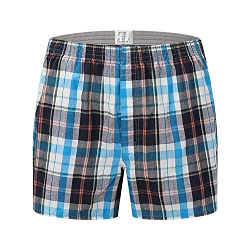 New Mens Underwear Boxer Brief Shorts Casual Cotton Sleep Underpants Plaid Loose Comfortable Homewear Panties,Ds08,Asian Size 6XL ()