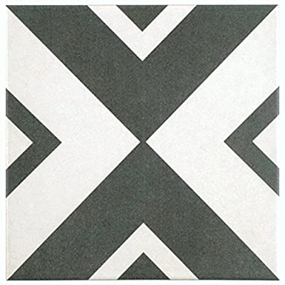 """SomerTile FRC8TWEV Fifties Ceramic Floor and Wall Tile, 7.75"""" x 7.75"""", White/Grey"""
