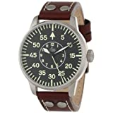 """Laco/1925 Men's 861690 """"Pilot Classic"""" Stainless Steel Watch with Leather Band"""