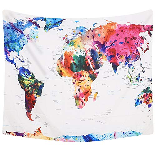 Colorful Wall Map - Lvtree Hanging Tapestry Abstract Painting Polyester Wall Blanket Home Decor Bedding for Living Room Bedroom Dorm, Colorful World Map
