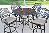 Elizabeth Outdoor Patio 5pc Set Counter Height with Bar Table 48''x 36''H Dark Bronze Cast Aluminum (Walnut)