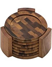 Lipper International 1134 Acacia End Grain Wood Round Coasters and Caddy, 7-Piece Set