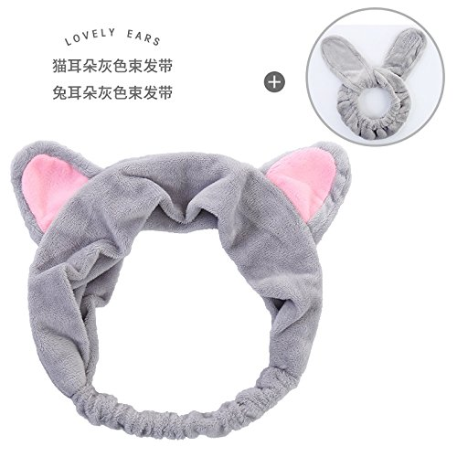 Lady Face Head Pin - HJPRT headband hair perm hair pin comb claw card through skin pregnant women face towel coral velvet summer personality absorbent headband (light grey