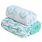 –SALE–Hold Me Close 100% Cotton Muslin Extra Large Swaddle Blanket Set, 3 Pack Swaddles, 47″ x 47″, Aqua Arrow, Bubbles and Solid Aqua, New Baby Gift, (Bubbles) Review