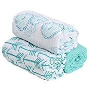 --SALE--Hold Me Close 100% Cotton Muslin Extra Large Swaddle Blanket Set, 3 Pack Swaddles, 47  x 47 , Aqua Arrow, Bubbles and Solid Aqua, New Baby Gift, (Bubbles)