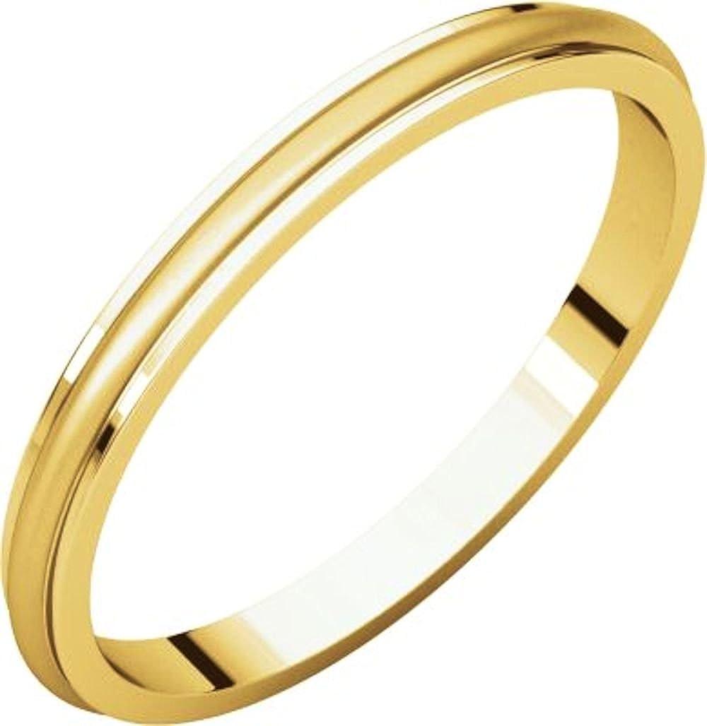 Bonyak Jewelry 18k Yellow Gold 2 mm Half Round Edge Band Size 14.5