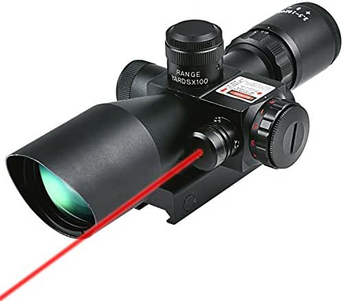 CVLIFE Hunting Rifle Scope 2.5-10x40e Red & Green Illuminated Gun Scopes with 20mm & 11mm Mount