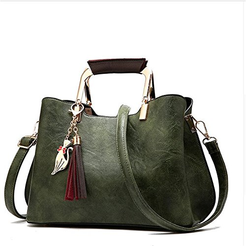 Meaeo Women Handbags Vintage Tassel Casual Shoulder Bag Crossbody Tote Bags For Girls, Red Green