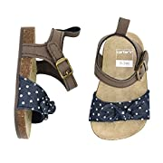 Carter's Girls' Strap Flat Sandal, Printed Chambray/Blue, 6-9 Months, Size 3 Regular US Infant