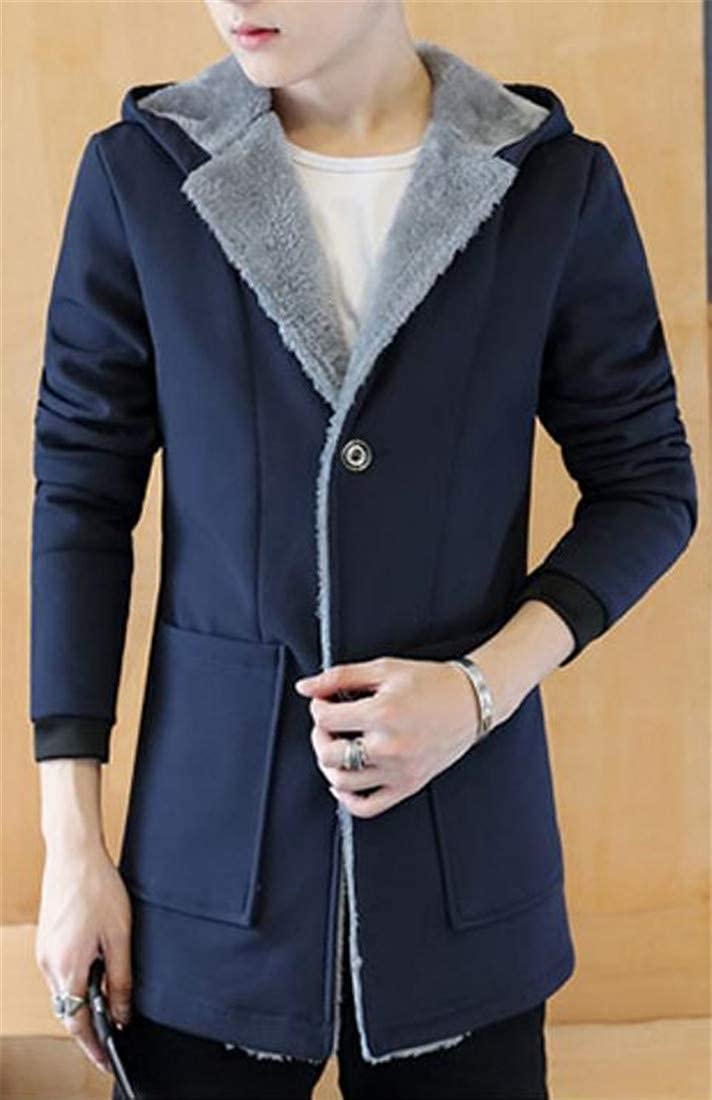 Sayhi Men Winter Thicken Hooded Fleece Single Breasted Trench Parka Coat