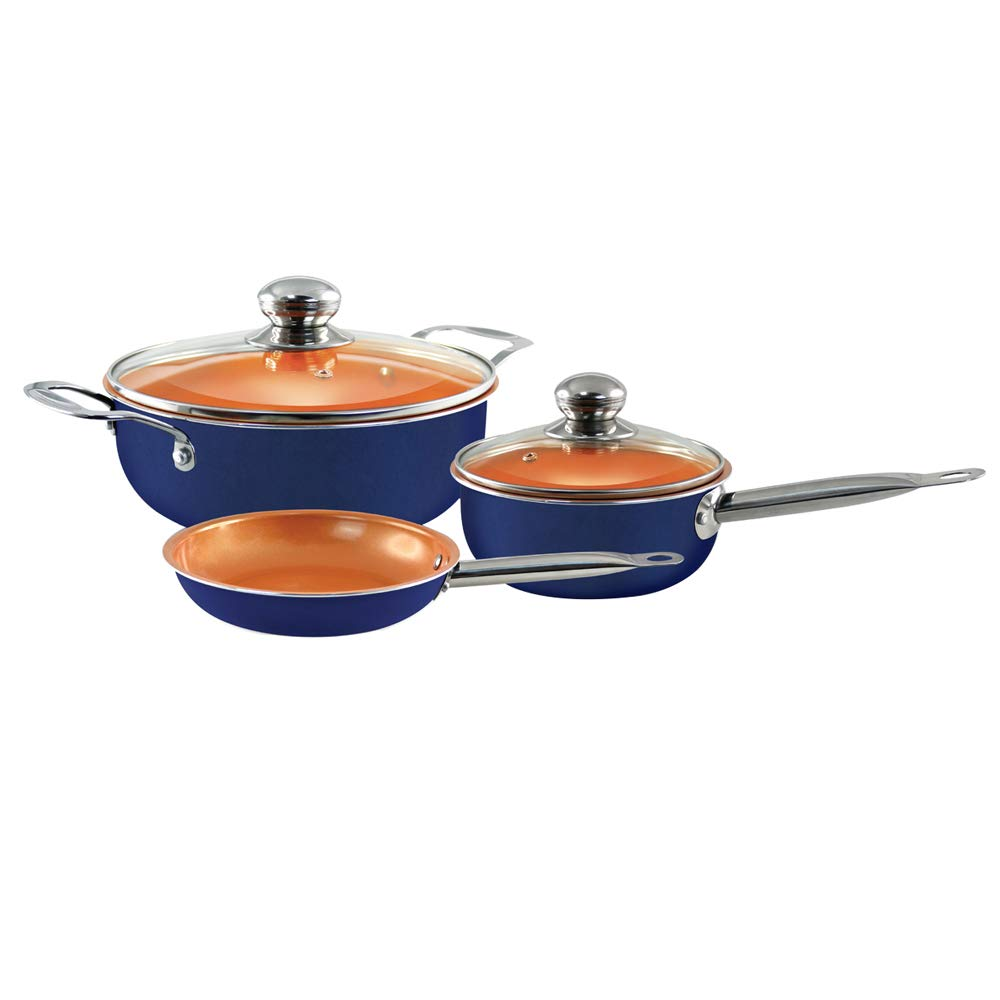 Juego de utensilios de cocina de 5 piezas - Juego de utensilios de cocina de inducción antiadherente Ollas y sartenes de cerámica y horno Juego de ...