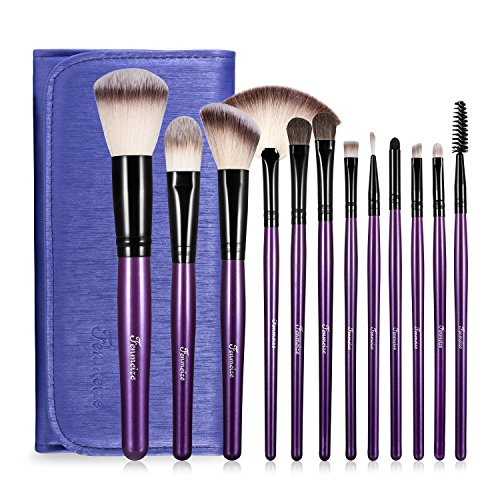 Makeup Brushes Set with Travel Bag, Purple 12 PCS Prime Professional Cosmetics Foundation Powder Brow Fan Eyeshadow Highlighter Primer Blush Concealer Face Make Up Brush with Pouch Carrying Case Kit