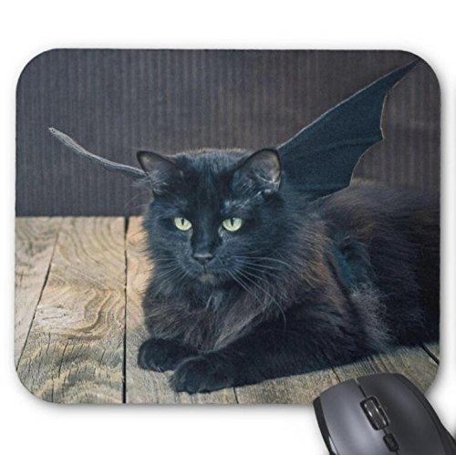 Mousepad Cat Halloween Costume Bat Wings Mouse Mat -